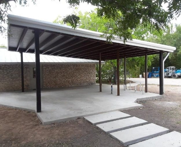 Covered metal awning for custom patio