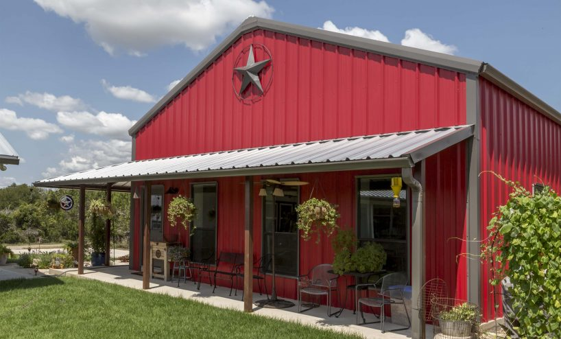 Red Metal Barndominium with Texas Star
